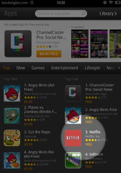 Kindle Fire Netflix app selection
