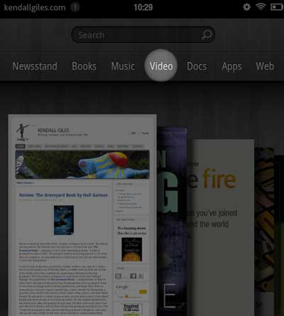 Amazon Kindle Fire Video selection