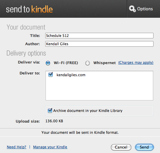 how to delete kindle send