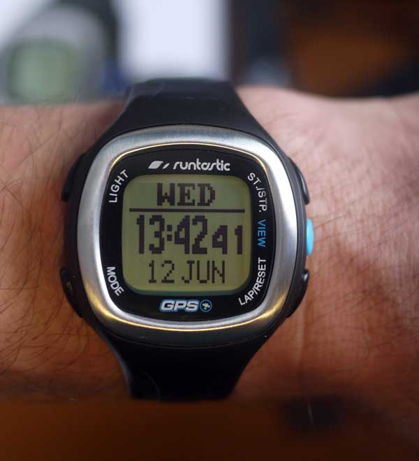 Runtastic GPS heart rate monitor watch display