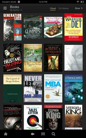 Kindle fire hdx books