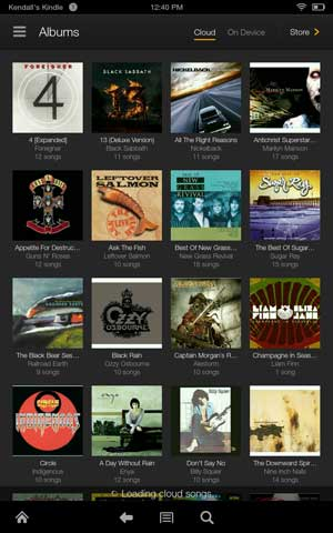 Kindle fire hdx music