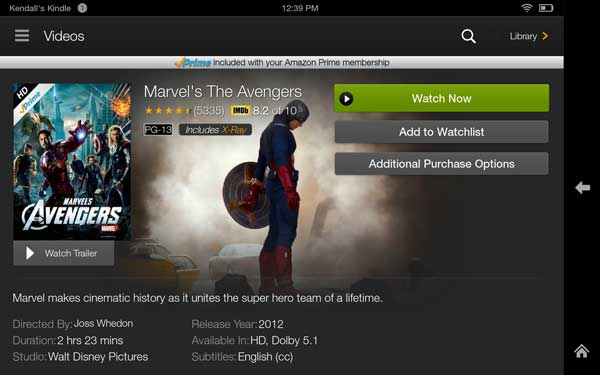 Kindle fire hdx videos