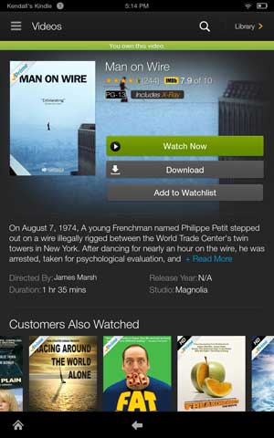 Kindle fire hdx videos own