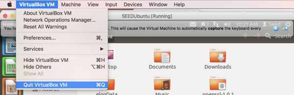 quitting virtualbox